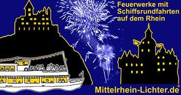 Mittelrhein Lichter Rheinschifffahrt mit Feuerwerk auf dem Rhein zwischen Koblenz und Rüdesheim, Rotweinfest, Weinfest-Sommernacht, Goldener Weinherbst, Federweissenfest